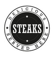 steaks vintage stamp logo vector image
