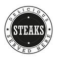 steaks vintage stamp logo vector image vector image