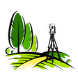 surveying instruments in the field vector image vector image
