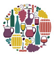 the symbols of wine and grapes vector image vector image