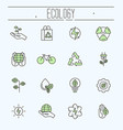 thin line ecology icons set vector image vector image
