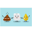 three cute friends turd a drop urine and toile vector image