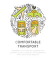 travel transport icon collection travelling vector image
