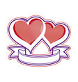 Two love hearts with ribbon vector image vector image