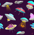 ufo seamless pattern alien spaceships vector image vector image