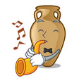 with trumpet amphora mascot cartoon style vector image vector image