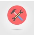 wrench and hammer in circle with shadow vector image vector image