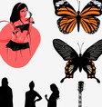 music girl butterfly vector image