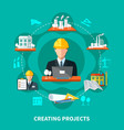 project creation circle composition vector image
