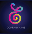 e letter logo icon blending color vector image