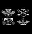 set of 4 vintage biker on dark background 1 vector image