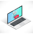 3d isometric laptop shopping vector image