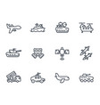 army line icons on white vector image vector image