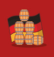 beer barrels wooden with germany flag vector image