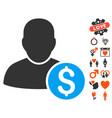 businessman icon with valentine bonus vector image