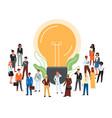 cartoon people standing near lightbulb icon vector image