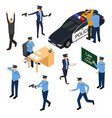 character policeman in uniform 3d icon set vector image
