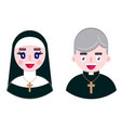 cheerful priest and happy nun vector image