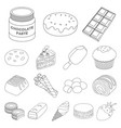 chocolate dessert outline icons in set collection vector image vector image