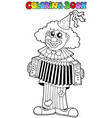 coloring book with happy clown 1 vector image vector image