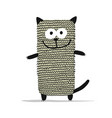 cute knitting cat sketch for your design vector image vector image
