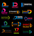 d letter symbols brand business corporate identity vector image vector image