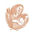 demeter goddess of harvest mono line vector image vector image