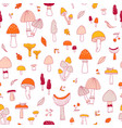 doodle mushrooms pattern vector image
