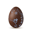 easter egg 3d icon chocolate brown egg isolated vector image