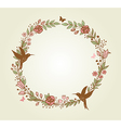 floral frame of flowers leaves and birds vector image vector image