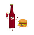 funny beer bottle and yummy hamburger characters vector image vector image