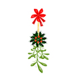 Green Mistletoe and Christmas Holly with A Red Bow vector image vector image