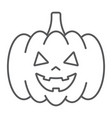 halloween pumpkin thin line icon autumn vector image vector image