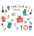 hand drawn of cute kitchen tools and ready fpr vector image vector image