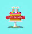 happy birthday banner with cake design on blue vector image