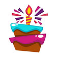 happy birthday cake candle design template vector image