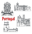 Historical travel sights of Portugal linear icon vector image vector image