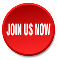 join us now red round flat isolated push button vector image vector image