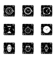 Kinds of watches icons set grunge style vector image vector image