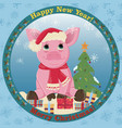 little 5 pink pig in santas hat and scarf around vector image