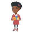 little african girl holding tray with fast food vector image vector image