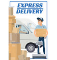 mail post logistic express delivery courier vector image