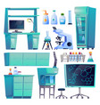 medical furniture laboratory equipment beakers set vector image