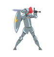 medieval knight fighting with shield and sword vector image