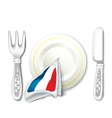 Plate Fork Knife with France Flag vector image vector image