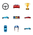 Racing and competition icons set cartoon style vector image