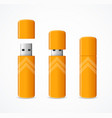 realistic 3d detailed yellow usb flash drive set vector image vector image