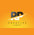 rp r p letter modern logo design with yellow vector image