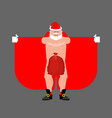 santa claus exhibitionist and red bag isolated vector image