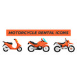 set motorcycle bike design flat style vector image
